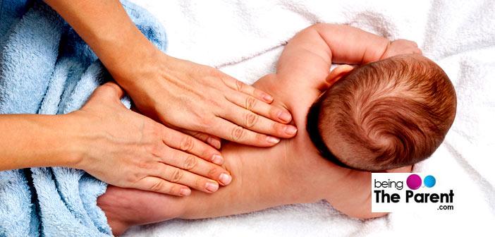 Massaging a baby