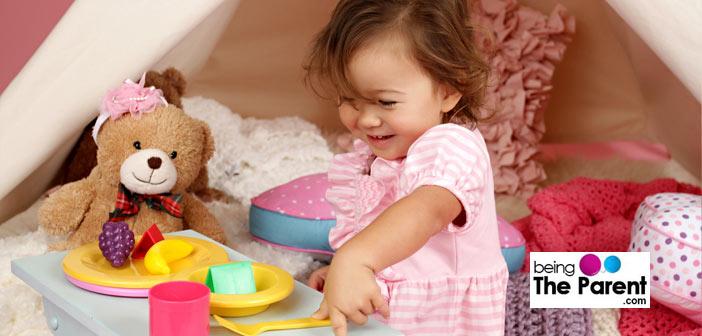 Girl playing pretend play