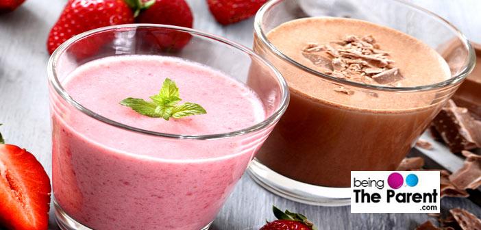 Strawberry and chocolate milk