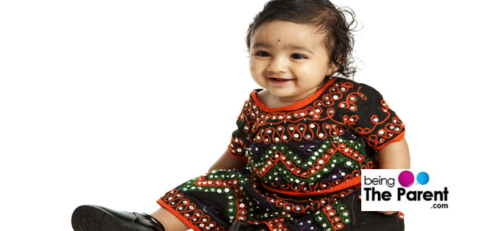 Baby dressed for Diwali