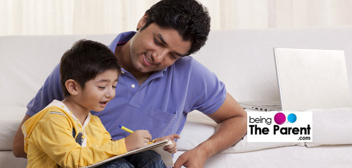Patient father teaching son