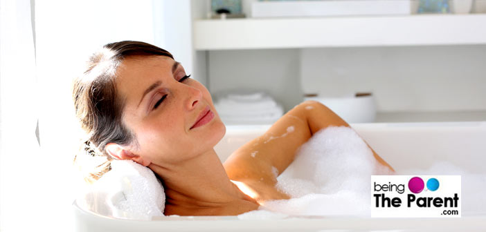 Woman relaxing after delivery