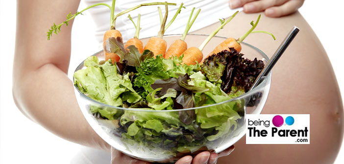 Pregnant woman healthy salad