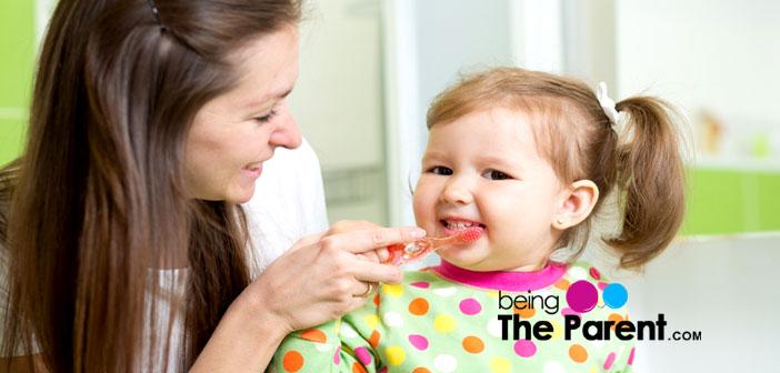 Teaching toddler brushing