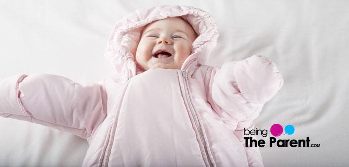 Happy baby in winters