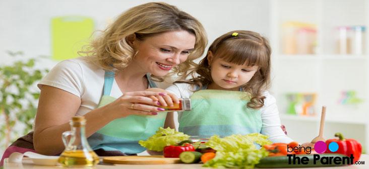 mother daughter making sala