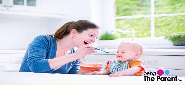 mother feeding food