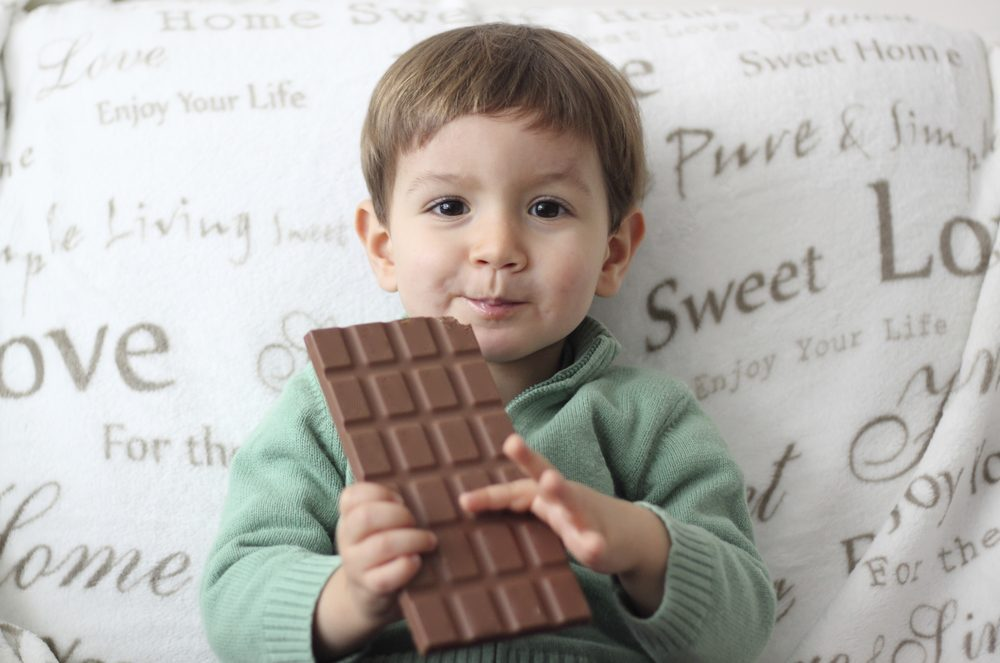 baby with chocolate