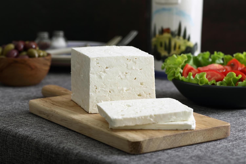 cut feta cheese