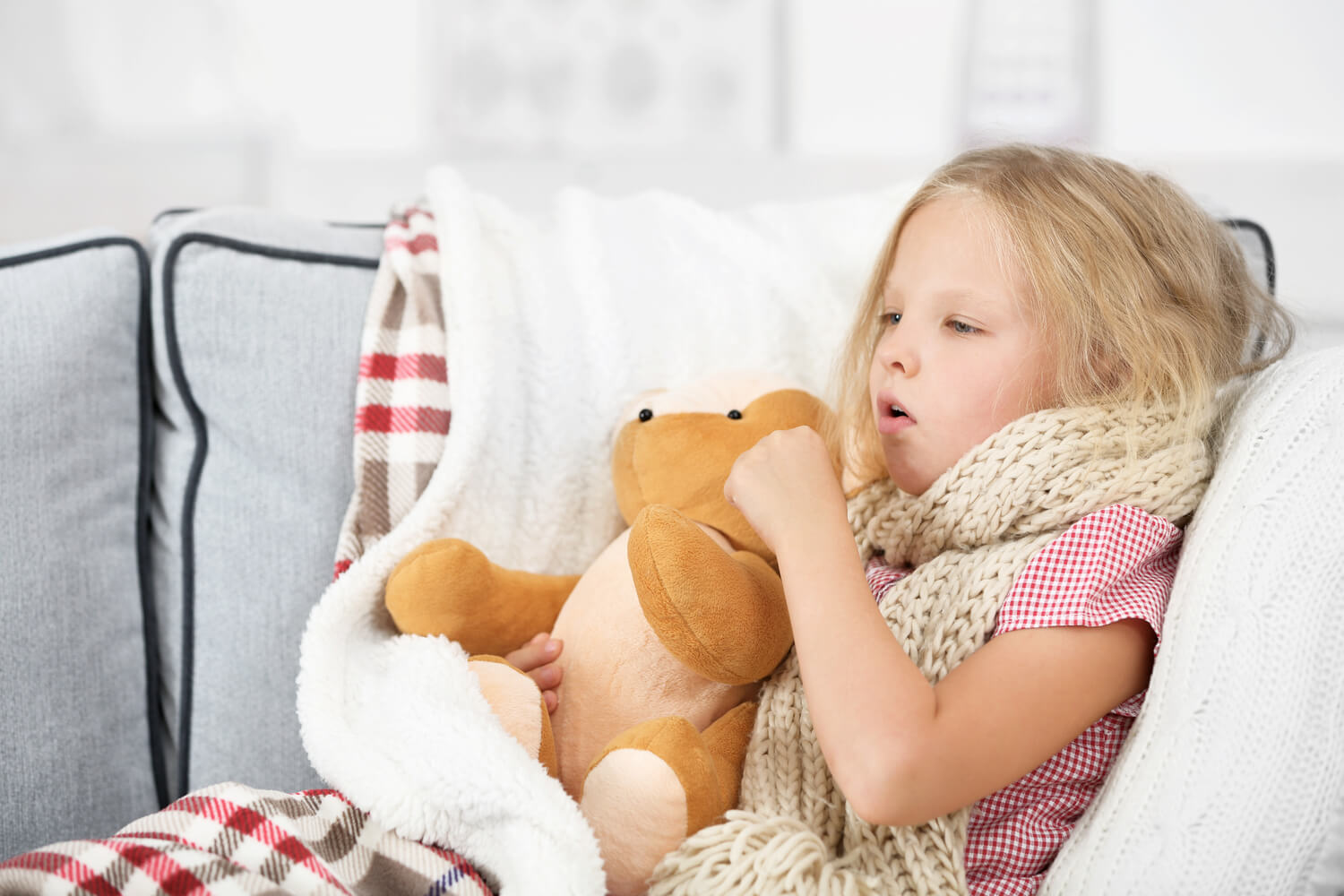 girl having cold and cough