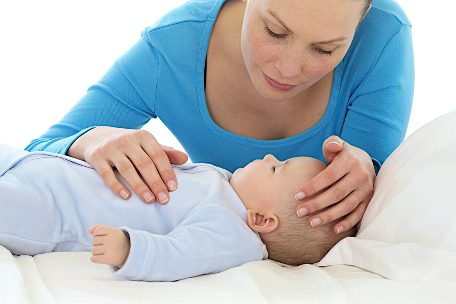 mom taking care of sick baby