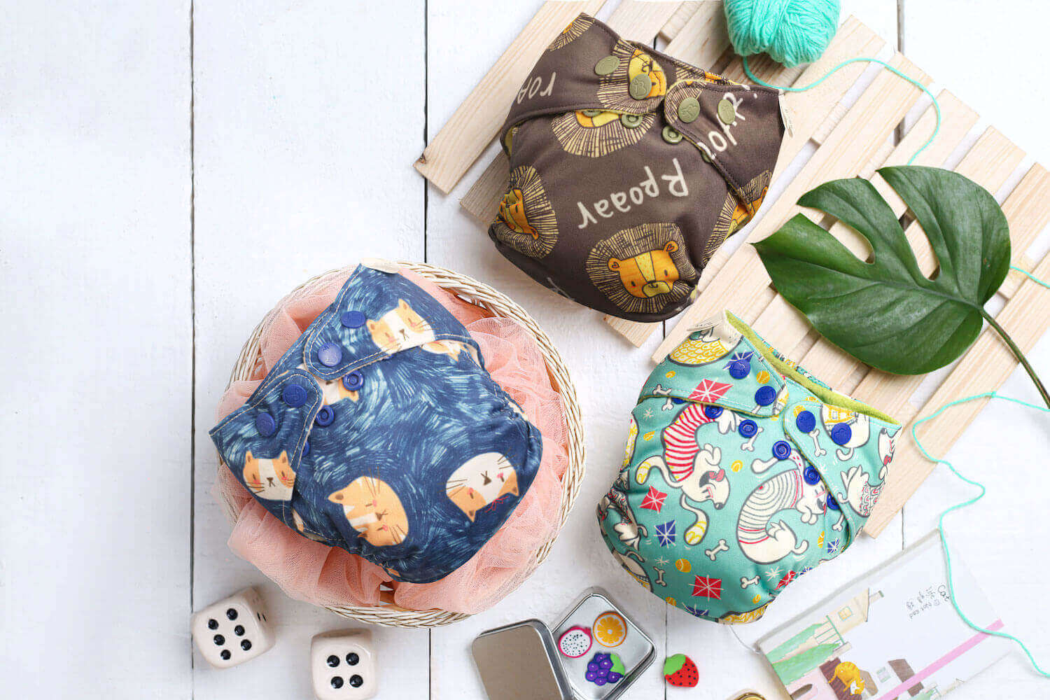 baby wearing super bottoms cloth diaper