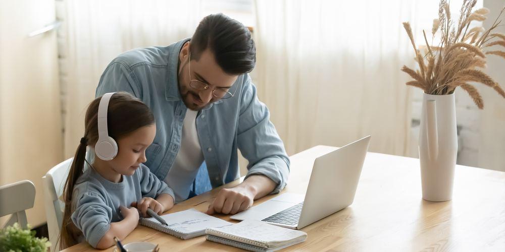 Child taking online class